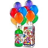 Bombona de helio desechable + 18globos de colores surtidos