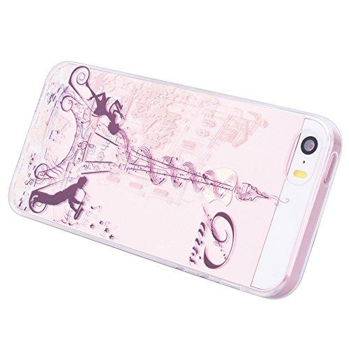 iPhone 5 / 5S / SE Case, Yokata Weich TPU Drucken Motif Handyhülle Schutzhülle mit Durchsichtig Crystal Clear Bumper Case Backcover + 1*Stylus Pen - Don't Touch Me Eiffel