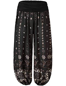 BAISHENGGT Mujer Pantalones Harem con Cintura Elastica Negro N3-Estampado X-large