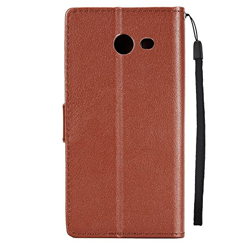 Classic Premiu PU Ledertasche, Horizontale Flip Stand Case Cover mit Cash & Card Slots & Lanyard & Soft TPU Interio Rückseite für Samsung Galaxy J5 2017 ( Color : Red ) Brown
