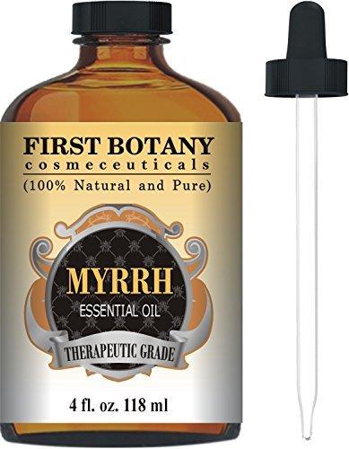 Erste Botany kosmezeutische Myrrhe Ätherisches Öl 4FL. OZ mit einem Glas Dropper-Pure und Natur mit Premium Qualität & Therapeutische Grade-Ideal für Aromatherapie, Massagen eine gesunde Haut (Ylang-ylang-öl 4 Oz)