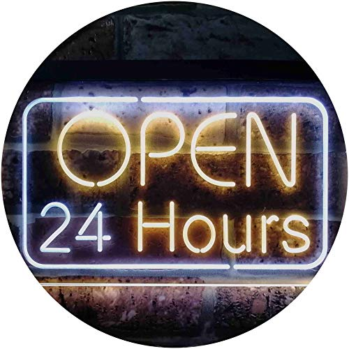 ADVPRO 24 Hours Open Shop Overnight Display Dual Color LED Barlicht Neonlicht Lichtwerbung Neon Sign White & Yellow 400mm x 300mm st6s43-i2384-wy