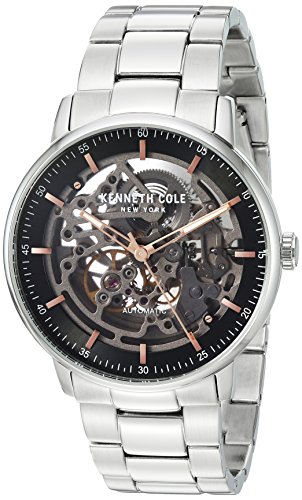 Kenneth Cole Mens Automatic Black Skeleton Dial Stainless Steel Bracelet KC15104004