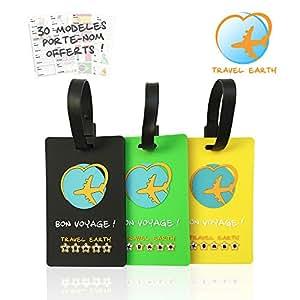 Étiquette de valise ✮ Travel Earth ✮ Lot de 3 étiquettes bagage de voyage pour sac ou valise. GRATUIT : 30 porte-nom personnalisés + Sangle de fixation incluse. Idéal en avion, train, bus ou voiture