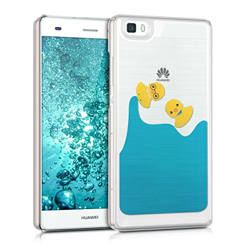kwmobile Hülle für Huawei P8 Lite (2015) - Hardcase Backcover Case mit Flüssigkeit Handy Schutzhülle - Cover mit Enten Design in Gelb Blau Transparent