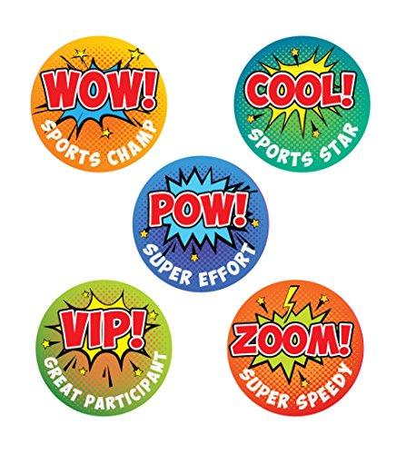 Wow! Sports Champ, Cool! Sports Star Pow! Super Effort, VIP! Great Participant, Zoom! Super Speedy Retro Comic Pop Art Sportaufkleber - Ideal für Schule und Sport