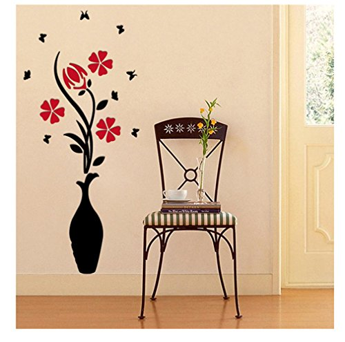 Longra DIY Vase Blumenbaum Kristall arcylic 3D Wandaufkleber Aufkleber Home Decoration 80 * 40cm Wandtattoos Günstig (C) (Tinkerbell Vase)