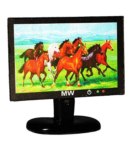 Preisvergleich Produktbild TV / Fernseher mit 3-D Pferdemotiv - für Puppenstube Miniatur - Maßstab 1:12 - Flachbildschirm - Geldgeschenk - Puppenhaus / Puppenhausmöbel - Wohnzimmer Möbel - LCD Flat Flachbild - Flattv Fernsehen Monitor - Diorama