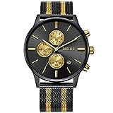 Herren Uhren Schwarz Edelstahl Mesh Armband Elegant - Analog Quarz Uhr - Gold Zifferblatt - Chronograph Wasserdicht Datum - BAOGELA Marken (Gold)