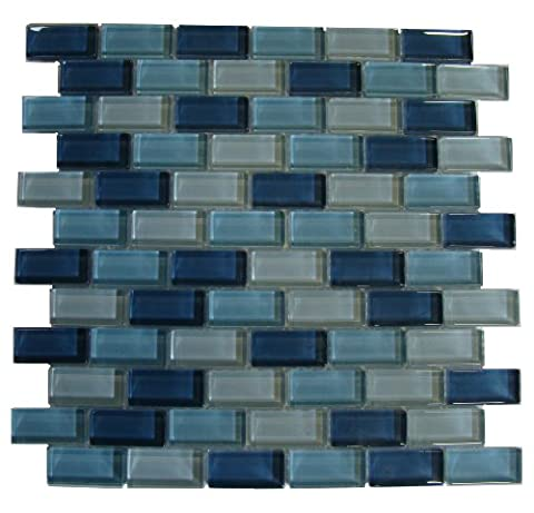 Interceramic INSBG1X2ARC Shimmer Blends Glass Mosaic Tile, 1-by-2-Inch Tile on a 12-by-12-Inch Mosaic Mesh, Arctic