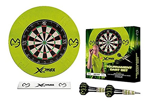 XQmax MVG Surround & Board Darts Set - Grün Surround - Dartscheibe - Oche Wurfleine - 2 Sets Messing Dartpfeile