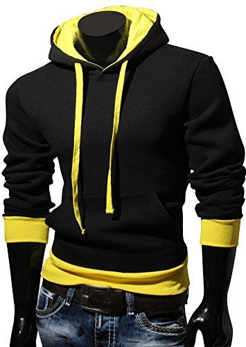 VAN pull à capuche à capuche pour homme hILL taille s à xXL Noir - Noir/jaune