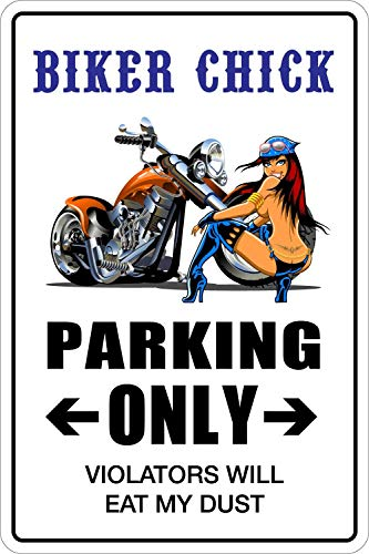 qidushop Türschild, Motiv: Biker Chick Parking Only, Metall, 20 x 30 cm -