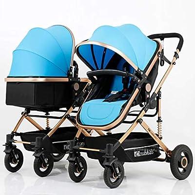 BABY CARRIAGE ZLMI Cochecito de bebé Gemelo Alto Paisaje Sentado/Respaldo Ligero Plegable Desmontable Ultra Ligero Amortiguador BB Trolley 0-3 años de Edad,Blue