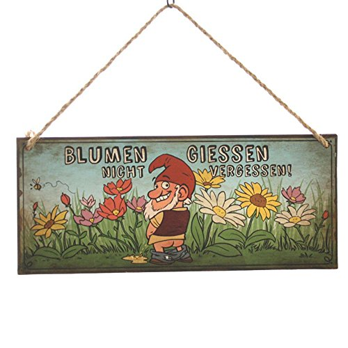 """Dekoschild Gartenzwerg """"Blumen giessen nicht vergessen!"""""""