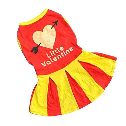 QHGstoreRefined Atmungsaktive Pfeil & Herz-Hundekleid Cheerleader Outfit Pet Kleid-Kleidung Rote (Roter Pfeil Kostüme)