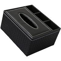 Sharplace PU Leder Taschentuchbox Taschentuchspender Kosmetiktücherbox Kosmetiktücher Serviette Halter Veranstalter Schreibtisch Tidy Box - Schwarze Rasterung, 22x17x10cm