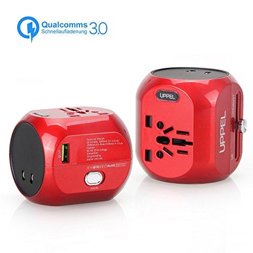 Sankoo Reiseadapter QC3.0 Schnellladung, travel Adapter, Internationales Ladegerät, All-in-One-Steckdose-Adapter für USA, AU, Asien, EU, UK und über 150 Ländern (Red) (Alle In Einem Globalen Adapter)