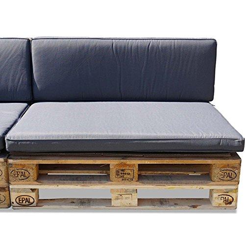 Nordje Palettenkissen Set Comfort Grey bestehend aus Sitzkissen (120 x 80 cm) und Lehne (120 x 40 cm) für Ihre Outdoor Palettenlounge (Grau) aus wasserabweisenden hochwertigem Stoff