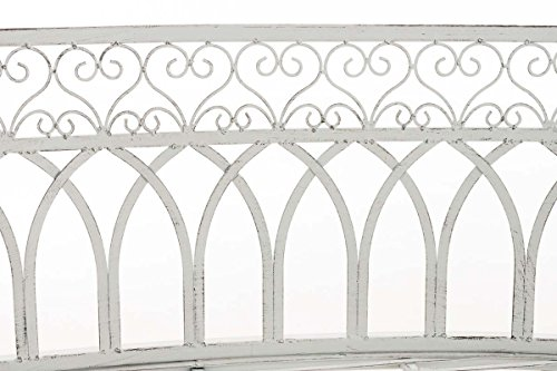 CLP Metall-Gartenbank AMANTI mit Armlehne, Landhaus-Stil, Eisen lackiert, Design antik nostalgisch, Form oval ca. 110 x 55 cm Antik Weiß - 5