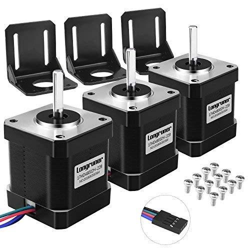 Longruner 3 Stück Stepper Motor Nema 17 Bipolar 1.7A 84oz.in(59Ncm) 42x48mm Körper 4-Führungen w/1m 4-Pin Kabel und Verbinder mit Montagehalter Set für 3D Drucker/CNC LD10-3