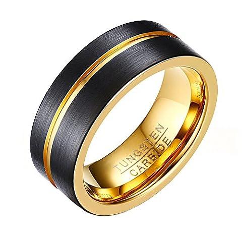 OAKKY Mens Tungsten Ring 8mm Black Brushed Carbide Wedding Band