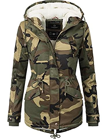 Marikoo Damen Jacke Winterjacke Baumwolljacke Kurzmantel Manolya (vegan hergestellt) Camouflage Gr. S