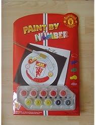 Manchester United F.C. - Set de botes de pintura para colorear láminas infantiles con códigos de colores y números y diseños del Manchester United