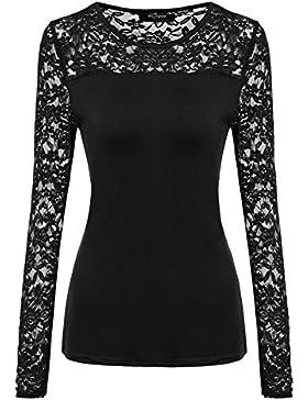 Zeagoo Damen 3/4-Ärmeln T-Shirt mit Floral Spitze Shirt Spitzenshirt Top Bluse Shirt Tunika Hemd mit Rüschen