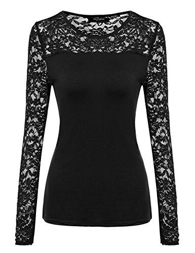 Zeagoo Damen T-Shirt mit Spitze Langarmshirt Spitzenshirt Top Bluse Shirt Tunika Hemd (EU 42/ XL, Schwarz)