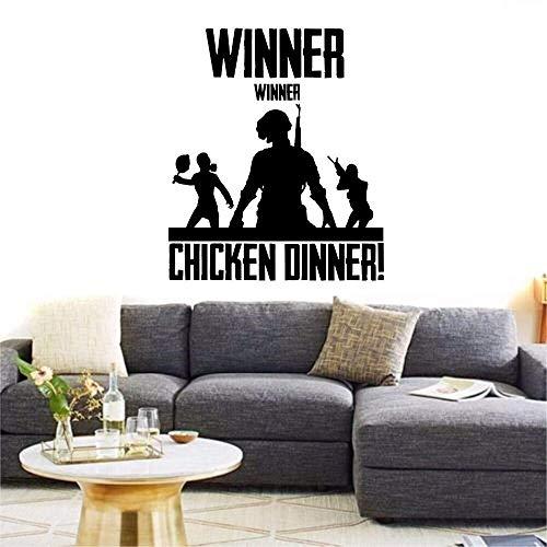 fenshop PUBG Winner Winner Chicken Dinner Wandaufkleber Xbox PS4 PC Vinyl Aufkleber Spiel Kunst Wohnkultur Zitat Junge Zimmer Aufkleber 68x58 cm Kunst-dinner