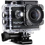 Caméra Sports / Topop Caméra embarquée étanche Haute Définition / Caméra Action Sport avec 12MP image et Full HD (1080p à 30fps) Vidéo