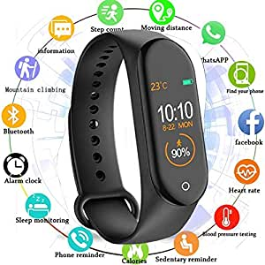 MARVIK M4 Smart Band Fitness Tracker Watch Heart Rate with Activity Tracker Waterproof Body Functions Like Steps Counter, Calorie Counter, Blood Pressure, Heart Rate Monitor OLED Touchscreen - Black