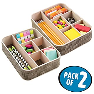 mDesign Desk Tidy - Store Paper Clips, Sticky Notes, Notepads, Pens and Pencils - 6 Desk Storage Compartments - Desk Organiser for Perfect Organisation in the Office or at Home - Bronze