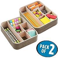 mDesign Organizador escritorio con 6 divisiones - Caja con compartimentos diferentes tamaños - Clasificador de objetos oficina