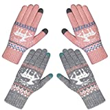 Chalier 2 Paare Touchscreen Handschuhe Damen Winterhandschuhe Frauen Baumwollhandschuhe Winter Warm mit Kaschmir MEHRWEG - rosa/Grau - Einheitsgröße