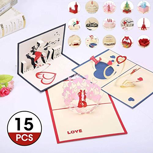Biglietti Di Natale Modelli.Artistore Pop Up 15 Fogli Carte Augurali 3d Modelli Multipli Cartoline Di Natale Carte Di Compleanno Auguri Per Il Tuo Amore Biglietti Di Auguri