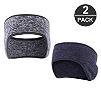 Jooheli 2pcs Winter Headbands Ear Warmers Stretchy, Winter Sport Headband Sport Earmuffs Headband for Men and Women Winter Running Yoga Skiing Out of the Sports