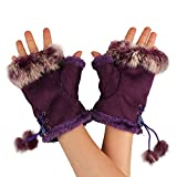 Winter Strick Handschuhe Faux Kaninchen Fell Fingerlose Handschuhe Half Finger Handschuhe Armstulpen Handschuhe für Frauen Mädchen violett