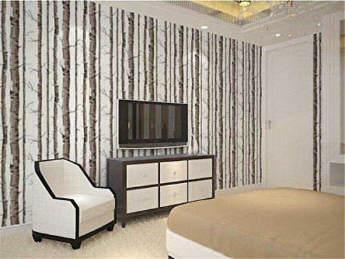 hzf/Einfache schwarze und weiße Birke Zweige geprägte Grüne PVC-Tapeten Schlafzimmer Wohnzimmer Hintergrund Internet Cafe Restaurant PVC-Tapeten, Fünfzig - zweitausend achthundert und ein Tapeten