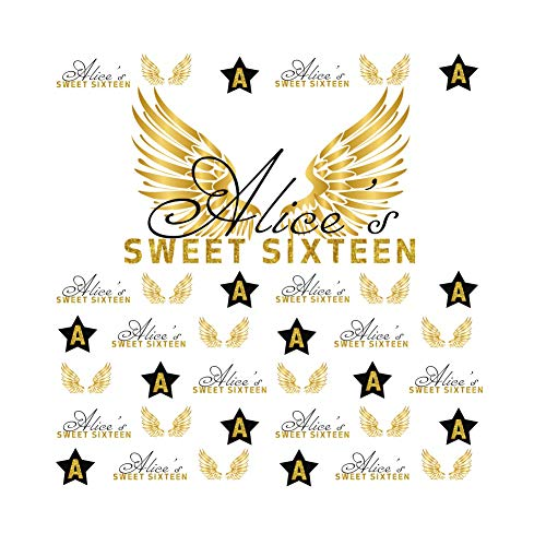 Cassisy 1,5x1,5m Vinyl Foto Hintergrund Alice's Sweet Sixteen Geburtstagsthema Golden Angel Wings Star Wall Fotografie Hintergrund für Photo Booth Party Kinder Fotostudio Requisiten (Sweet Sixteen Hintergrund)