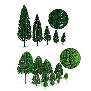 29pcs Mixed Model Trees 1.5-6 inch(4 -16 cm), OrgMemory Ho Scale Trees, Diorama Models, Model Train Scenery, Architecture Trees, Model Railroad Scenery with No Stands