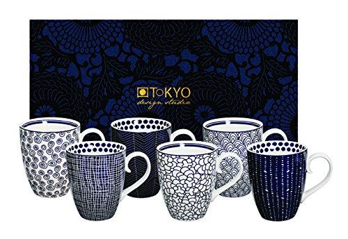 Tokyo Design Studio, Le Bleu de Nimes, 6 Tassen Set in dekorativer Geschenkbox, Porzellan Geschirr,...