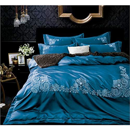 Seide Bettwäsche Bettbezug Kissenbezug 4er Set (Color : Light Blue) - Twin Männer Bettbezug