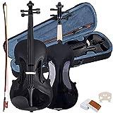4/4 Geige Geigen Violine Violinen für Anfänger inkl. Bogen, Koffer und Kolophonium aus Holz in 2 verschiedenen Farben (Schwarz)