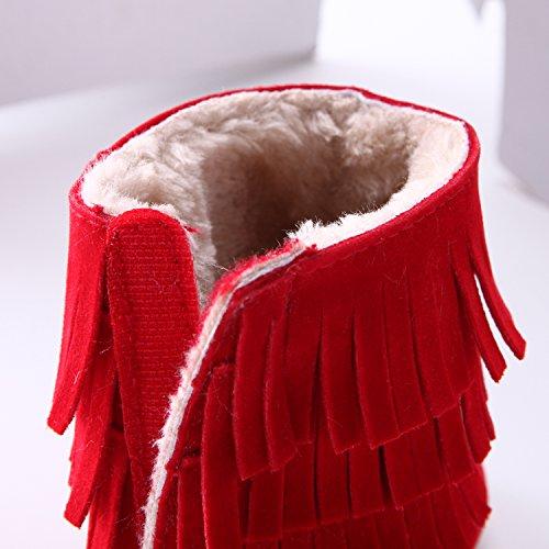 CHIC-CHIC Baby Steifel Winter Mädchen Soft Sohlen Soft-Krippe Füßlinge Anti-rutsch Weich Warm Snow Boots (6-8 Monate, Weiß) Rot
