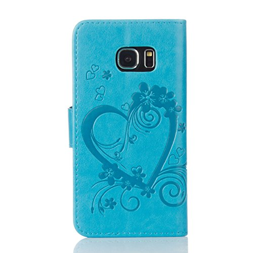 Leather Case Cover Custodia per Samsung Galaxy S6 edge ,Ecoway Caso / copertura / telefono / involucro del modello PU con a Bookstyle tasche carte di credito funzione con interno morbido in TPU Portaf turchese