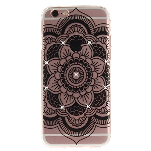"Coque iPhone 6s, SsHhUu Ultra Mince [Crystal Diamonds] Flexible Caoutchouc Doux TPU Étui Bumper Silicone Gel Anti-Scratch Cover pour Apple iPhone 6 / 6s (4.7"") Mandala Noir Tournesol"