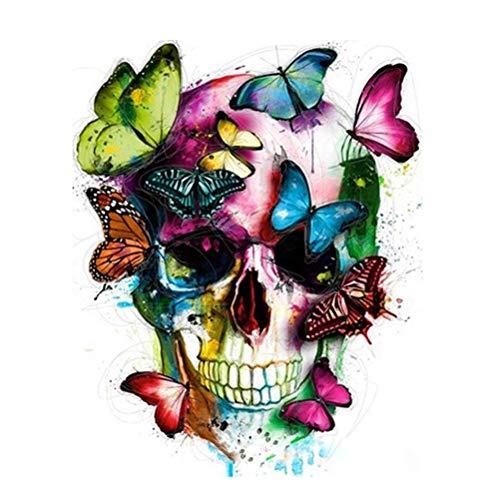 Wincy Shop Malen-nach-Zahlen-Kit, DIY-Ölgemälde auf Leinwand mit Acrylpigmenten für Erwachsene und Anfänger - Totenkopf mit Schmetterling, canvas, Skull Head With Butterfly, Framed