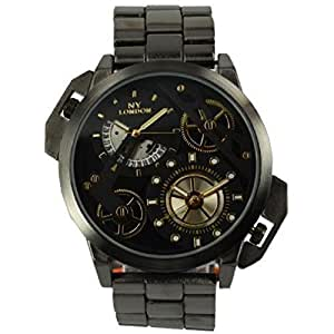 Montre NY London Homme Métal Gun Bracelet Noir Cadran Noir avec Date et Double Fuseau Horaire
